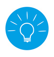 Bulb Icon on Round Blue Background vector image