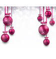 Background with magenta christmas balls vector image