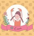 cute horoscope zodiac girl cancer vector image