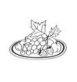 doodle fruit snacks vector image
