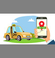order taxi app hand holding smartphone vector image
