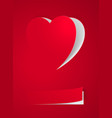 red heart card on red for design vector image