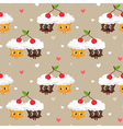 Romantic seamless pattern with cute pair of vector image