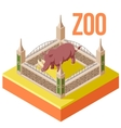Zoo Rhinoceros isometric icon vector image