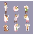 Set Of Funny Mad Scientists In Lab Coats vector image