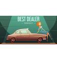 Vintage Car Sale Dealer retro Poster vector image