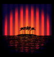 tropical island with neon strips vector image