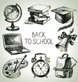 Back to school hand drawn school object set vector image