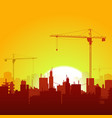 sunrise cranes and construction background vector image