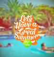 Summer vacation retro type design and hotels pool vector image