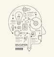 Flat linear Infographic Education Outline Pencil vector image vector image