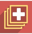 Medical Docs Flat Square Icon with Long Shadow vector image