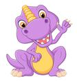 Cute dinosaur waving hand vector image