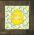 easter greeting card with yellow tulips on wooden vector image