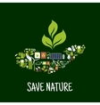 Green plant in hand icon vector image