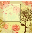 Grungy rose background with frame vector image