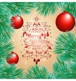 Holiday card with balls and Christmas tree vector image