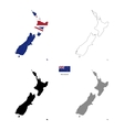 New Zealand country black silhouette and with flag vector image