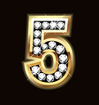 Number five bling gold and diamonds vector image