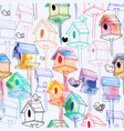 seamless pattern with watercolor birdhouse on vector image