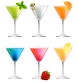 Set with detailed cocktails on white vector image