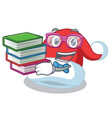 student with book christmas hat character cartoon vector image