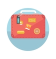 Suitcase with travel stickers vector image