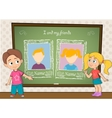Yearbook with boy girl and chalkboard for two vector image