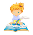 Little Girl Reading vector image vector image