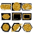Collection of shapes Black with gold vector image
