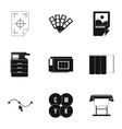 Print icons set simple style vector image