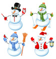 Snowman set vector image vector image