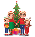 Family at Christmas tree with gifts vector image vector image