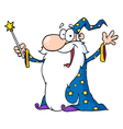 Wizard In A Star Robe Holding Up His Wand vector image