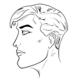 Outline side profile of a human male head vector image