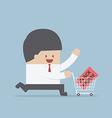 Businessman and shopping cart with black friday sa vector image