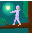 Man sleepwalker on tree cartoon vector image