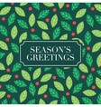 seasons greetings card with mistletoe background vector image vector image