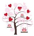 tree heart owl vector image vector image
