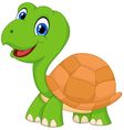 Cute cartoon green turtle vector image