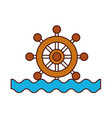boat timon with sea waves vector image