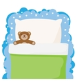 children bed with a favorite toy teddy bear vector image