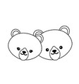 dotted shape cute bear head animal couple together vector image