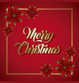 red merry christmas card lettering and poinsettia vector image