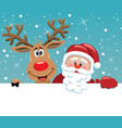 santa claus and rudolph deer vector image