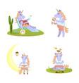 set of funny unicorn vector image