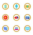 smart device icons set cartoon style vector image