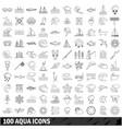 100 aqua icons set outline style vector image