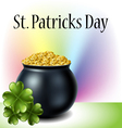 St Patricks day cauldron with clover and rainbow vector image vector image