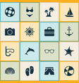 hot icons set collection of ship trees baggage vector image